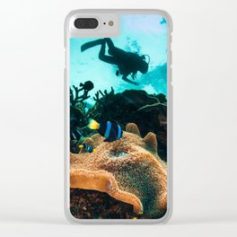 Colourful seascape with diver silhouette Clear iPhone Case