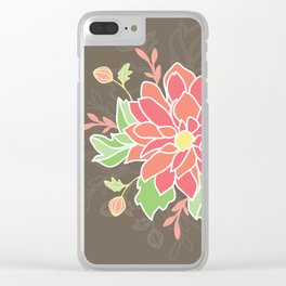 Dahlia with buds Clear iPhone Case