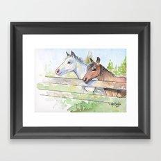 Horses Watercolor Sketch Barn Animals Horse Framed Art Print