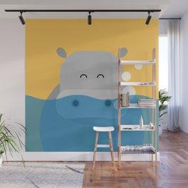 Hippo, geometric & minimalism Wall Mural