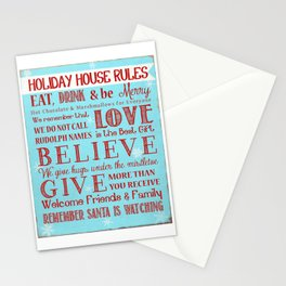 Holiday House Rules Stationery Cards