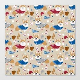 Corgi baseball themes sports dog fabric welsh corgis dog breeds gifts Canvas Print