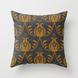 Textured modern fruit damask yellow on black Throw Pillow