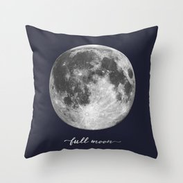 Full Moon on Navy English Throw Pillow