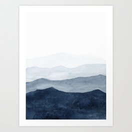 Indigo Abstract Watercolor Mountains Art Print