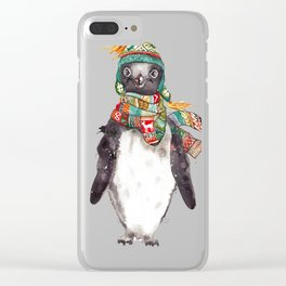 Penguin in a scarf (male) Clear iPhone Case