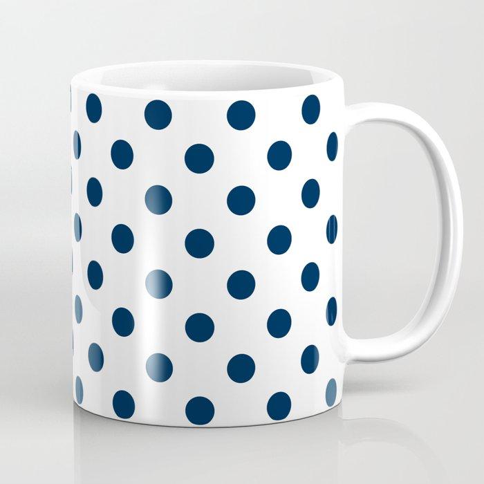 Small Polka Dots Oxford Blue On White Coffee Mug