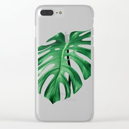 Split leaf philodendron leaf isolated on white Clear iPhone Case