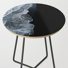 Waves on a black sand beach in iceland - minimalist Landscape Photography Side Table