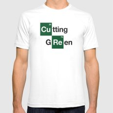 cutting green White SMALL Mens Fitted Tee