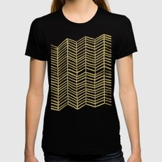 Gold Herringbone MEDIUM Black Womens Fitted Tee