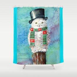Snowman Owl Shower Curtain