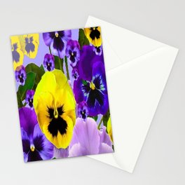 PINK & PURPLE SPRING PANSY FLOWER GARDEN  Stationery Cards