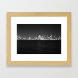 SF at as night seen from Treasure Island Framed Art Print