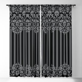 Black and Gray Floral Damask Pattern Blackout Curtain