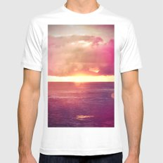 Ocean Sunset Bokeh Mens Fitted Tee MEDIUM White
