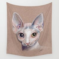 sphynx Wall Tapestries featuring Sphynx cat by Pendientera