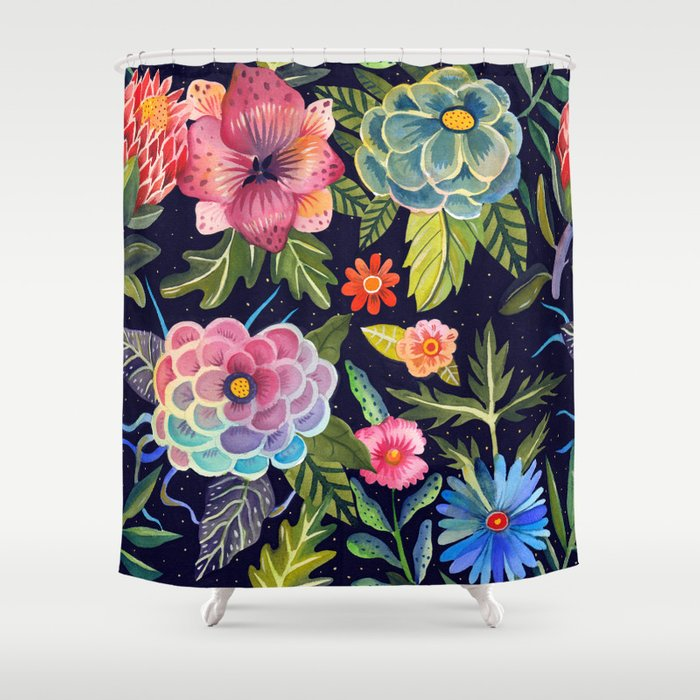 Cosmic Florals Shower Curtain