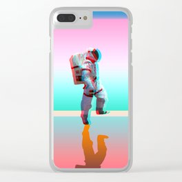 Retro Space Man Clear iPhone Case