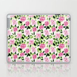 Pink and Green Garden Floral Pattern Laptop & iPad Skin