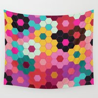 honeycomb Wall Tapestries featuring Honeycomb Blooms by Michelle Nilson