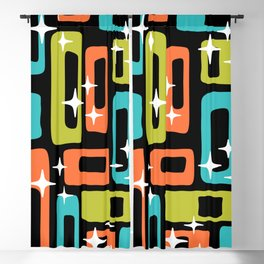 Retro Mid Century Modern Abstract Pattern 222 Orange Chartreuse Turquoise Blackout Curtain