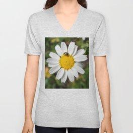 Magic Field Summer Grass - Chamomile Flower with Bug - Macro Unisex V-Neck