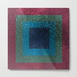 Pink Green Glitter Square Pattern Metal Print