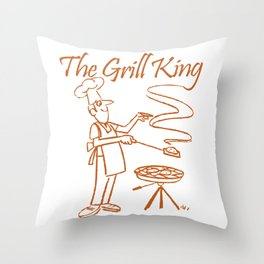 The Grill King Funny Chef Cook Grilling BBQ Meat Throw Pillow