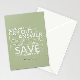 Psalm 91:15 Bible Verse - Sage Pastel Greens Stationery Cards