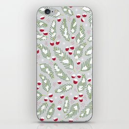 Winter Berries in Gray iPhone Skin
