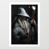 gandalf Art Prints featuring Gandalf by MATT DEMINO