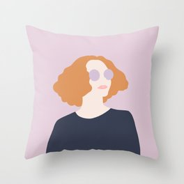 Orange Hair Girl // Minimalist Indie Rock Music Festival Lavender Sunglasses by Mighty Face Designs Throw Pillow