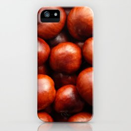 Glossy red conkers in autumn iPhone Case
