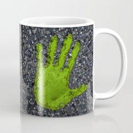 Carbon handprint / 3D render of modern city with handprint shaped park Coffee Mug