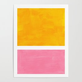 Pastel Yellow Pink Rothko Minimalist Mid Century Abstract Color Field Squares Poster