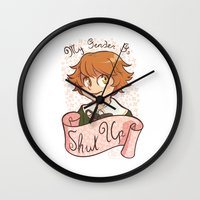 dangan ronpa Wall Clocks featuring My gender is... SHUT UP! by AMC Art