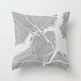 Beantown City Map Throw Pillow