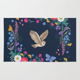 Owl and Wildflowers Rug