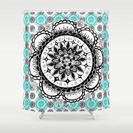 Teal and Black Mandala Pattern Shower Curtain