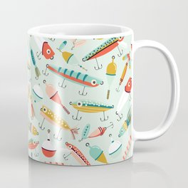 Fishing Lures Light Blue Coffee Mug