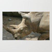 rhino Area & Throw Rugs featuring Rhino by Cindy Munroe Photography
