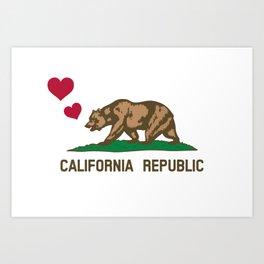 California Republic Bear with Hearts Art Print