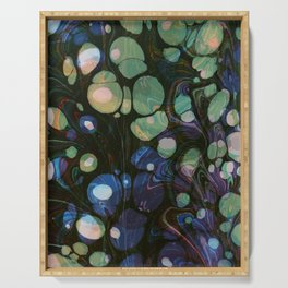 Abstract Painting - Marbling Art 01- Fluid Painting - Blue Green, Black Abstract - Modern Abstract Serving Tray
