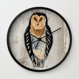 Primitive Owl Graphic Carved Wood Board Wall Clock