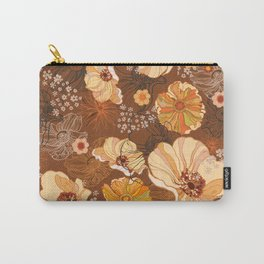 70s Flowers retro vintage boho orange and brown Carry-All Pouch