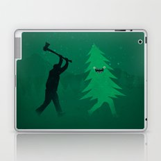 Funny Cartoon Christmas tree is chased by Lumberjack / Run Forrest, Run! Laptop & iPad Skin