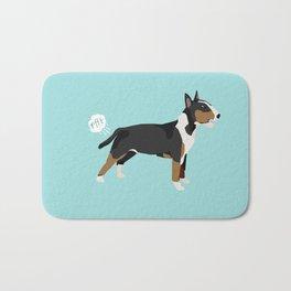 Bull Terrier tricolored dog breed funny dog fart Bath Mat