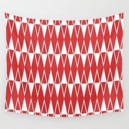 Mid Century Modern Diamond Pattern Red 234 Wall Tapestry