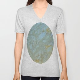 Marble in Blues and Golds, Italian  Unisex V-Neck